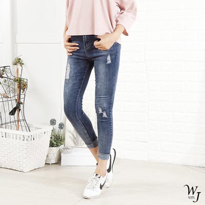WHALE JEANS 搞怪磨損感漸層式刷色拼接褲管中腰牛仔褲