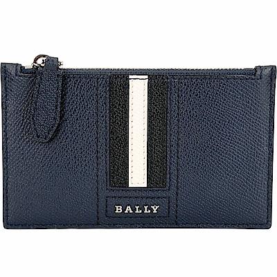 BALLY TENLEY 條紋拼接壓紋牛皮萬用卡片夾/零錢袋(海軍藍)