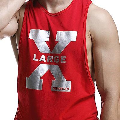 SEOBEAN X-LARGE紅色棉質潮流印花運動背心