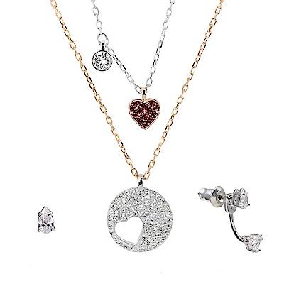 SWAROVSKI 施華洛世奇 紅心x圓形鏤空愛心水晶 多層次玫瑰金銀雙色項鍊+耳環組合