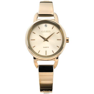 CITIZEN 名媛晶鑽礦石強化玻璃日本機芯不鏽鋼手環手錶-鍍香檳金/26mm