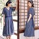 洋裝-亞麻印花v領短袖寬鬆文藝碎花長裙-設計所在 product thumbnail 1