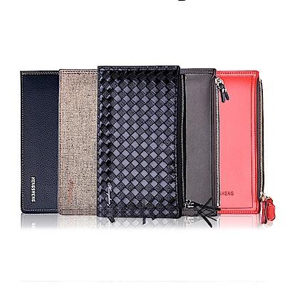 EHD 超薄雙層16多卡位拉鍊皮革長款手機錢包皮夾(19色任選)
