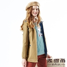【麥雪爾】純棉休閒繫繩造型連帽風衣外套-卡其