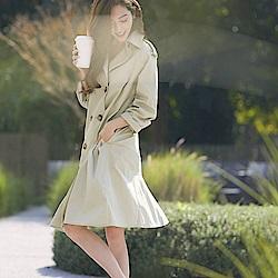 IREAL 荷葉裙襬雙排釦風衣洋裝外套