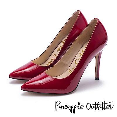 Pineapple Outfitter 性感尤物 素面尖頭高跟鞋-鏡紅