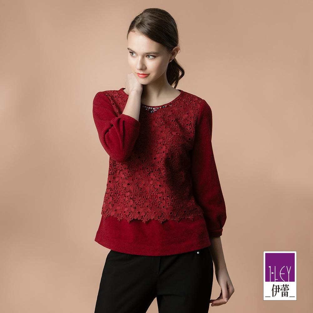ILEY伊蕾 雕花蕾絲拼接刷毛圓領上衣(紅)