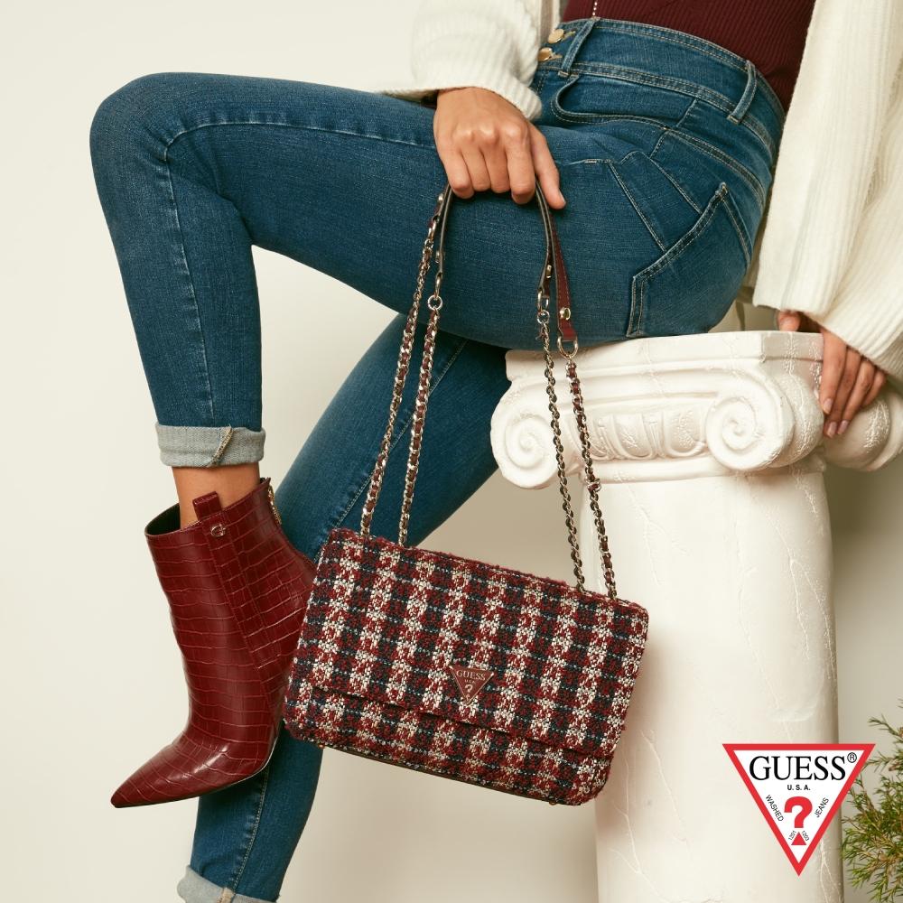 GUESS-女包-小香風優雅編織格紋肩背包-紅 原價3090