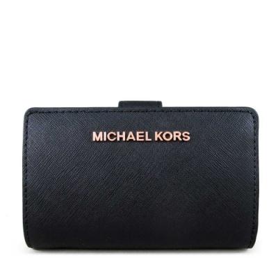 MICHAEL KORS Jet Set Travel 玫瑰金字Logo防刮皮革中夾(黑色)