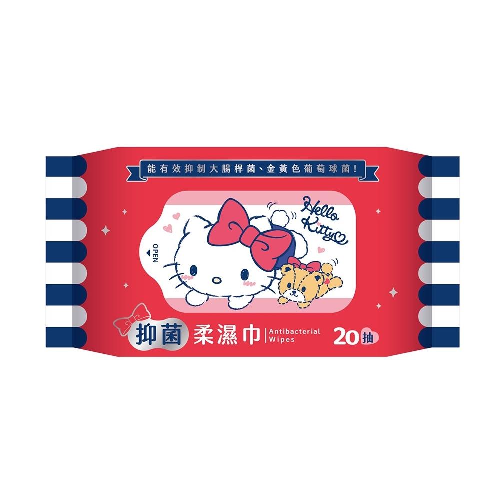 Hello Kitty 凱蒂貓抑菌柔濕巾/濕紙巾 20 抽 X 16 包 超柔觸感 隨身包攜帶方便