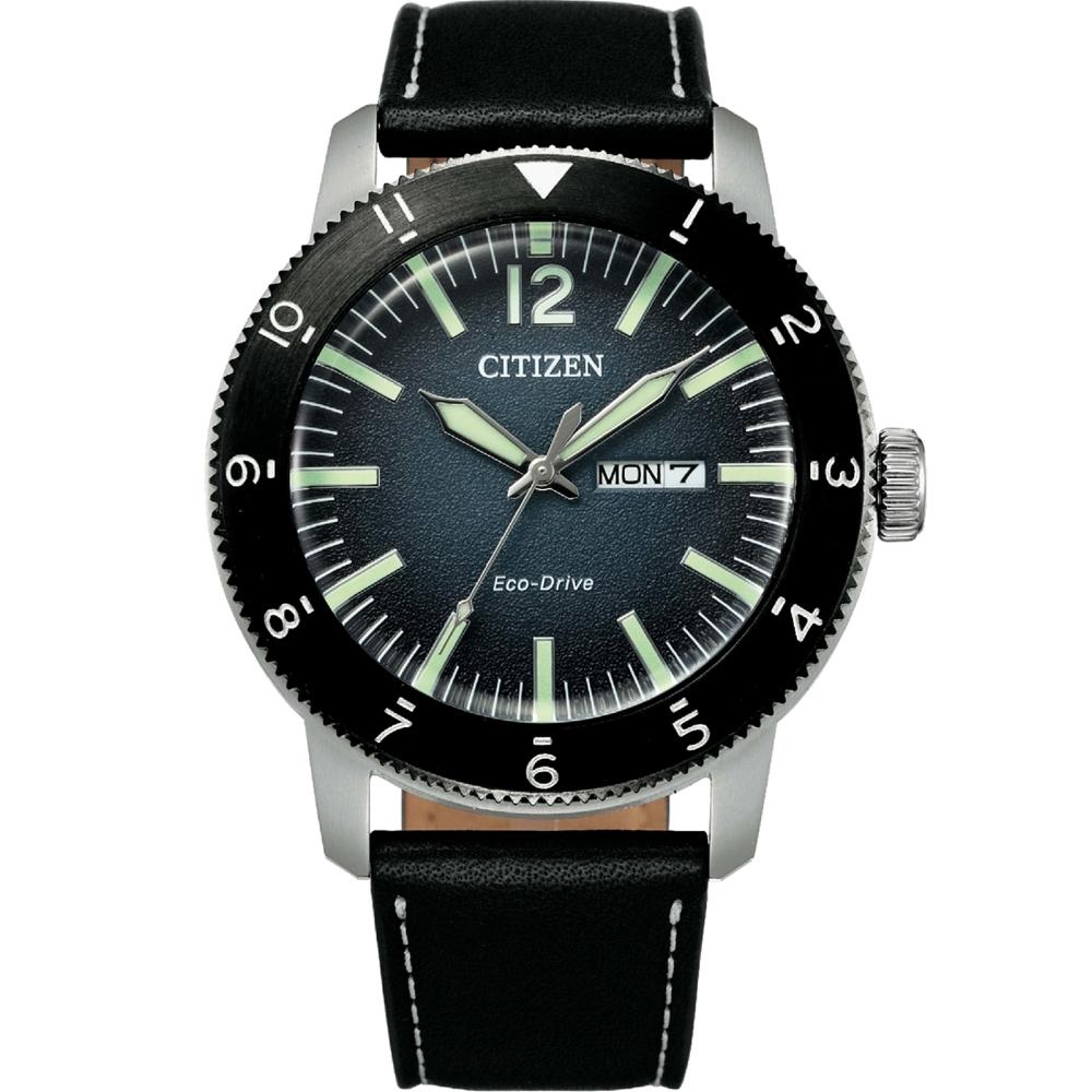 CITIZEN 星辰 GENTS系列蔚藍之海光動能小牛皮時尚腕錶 (AW0077-19L)43mm