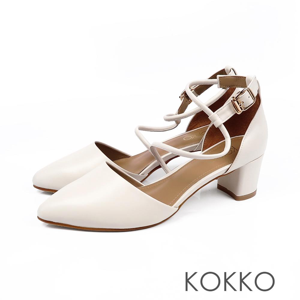 KOKKO - 文藝復興S形流線踝帶尖頭粗跟鞋-柔嫩白