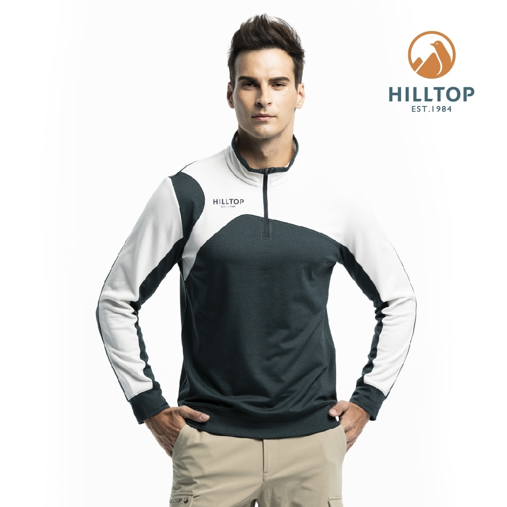 【hilltop山頂鳥】男款吸濕快乾彈性抗菌半開襟刷毛上衣H51MI4灰綠