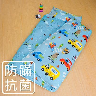 鴻宇 防蟎抗菌 可機洗被胎 兒童冬夏兩用睡袋 美國棉 精梳棉 旅行家~藍