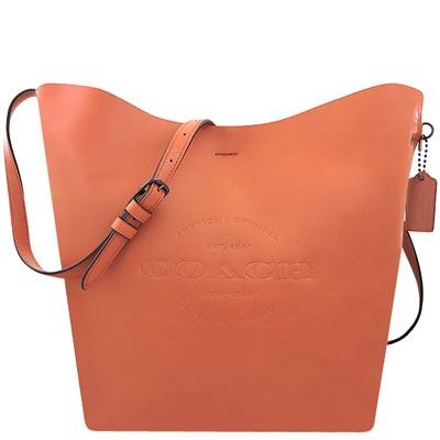 COACH 粉橘色輕量皮革斜背包-大型