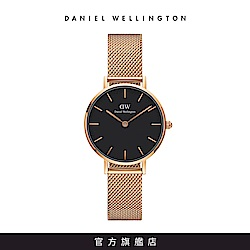 DW 手錶 官方旗艦店 28mm玫瑰金框 Classic Petite 香檳金米蘭金屬錶