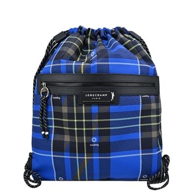 LONGCHAMP GREEN DISTRICT系列ECONYL認證再生尼龍格紋前口袋束口後背包(藍)