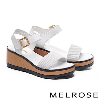 涼鞋 MELROSE金屬風菱形壓紋羊皮一字厚底涼鞋-白