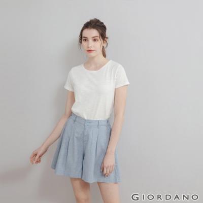 GIORDANO 女裝後鬆緊寬鬆棉麻短褲 - 69 天空藍