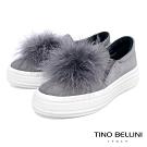 Tino Bellini雲朵般飄逸毛球全真皮懶人鞋_灰
