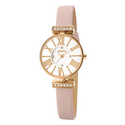 Folli Follie晶緻閃耀浪漫皮革腕錶-粉(WF15B028SSW-PI)
