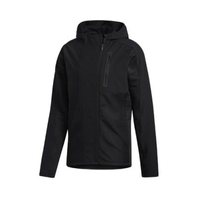 adidas 外套 Training Hoodie 男款 愛迪達 不對稱拉鍊 連帽 保暖 吸濕排汗 黑 GJ0339