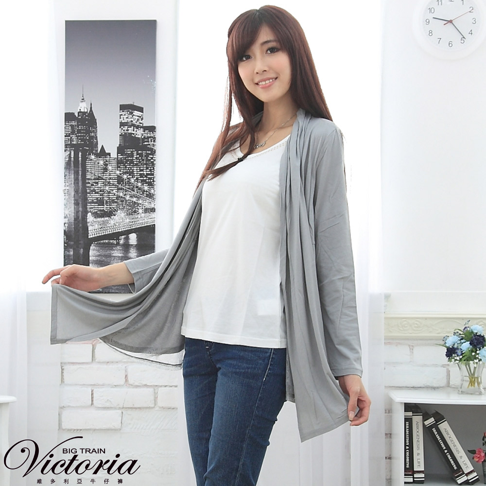 Victoria 燙鋁背心蕾絲薄外套-女-淺灰
