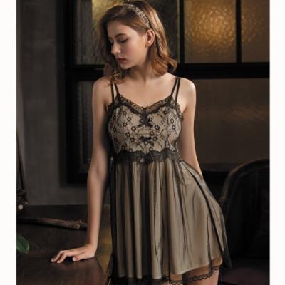 華歌爾睡衣-甜美夢幻 M-L  睡衣裙裝 (黑透膚)一件式超細針織