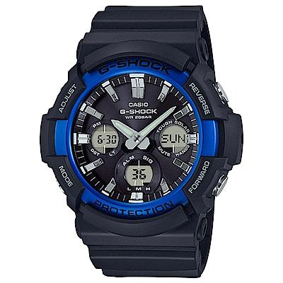 G-SHOCK 太陽能金屬3D雙顯運動錶(GAS-100B-1A2)-黑藍/52.5mm