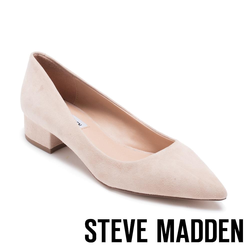 STEVE MADDEN BAIS 真皮尖頭素色中跟鞋-絨粉