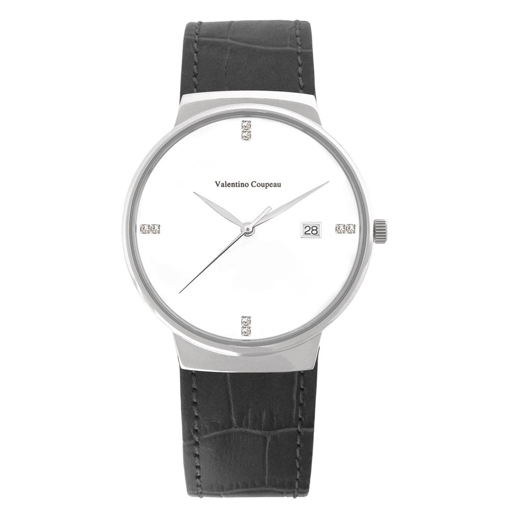 Valentino Coupeau 范倫鐵諾 古柏 時尚極簡設計腕錶【銀色/黑皮/白珠】