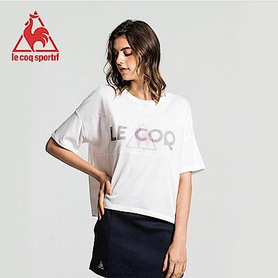 le coq sportif 法國公雞牌胸前網布拼接圓領寬版短袖T恤 女-白
