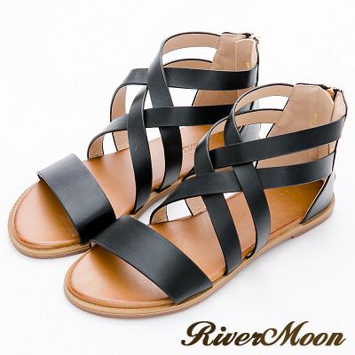 River&Moon大尺碼-清新復古風皮感編織羅馬涼鞋-黑