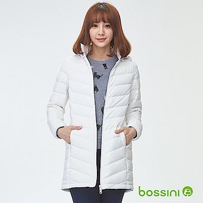 bossini女裝-連帽彈性無縫羽絨外套灰白