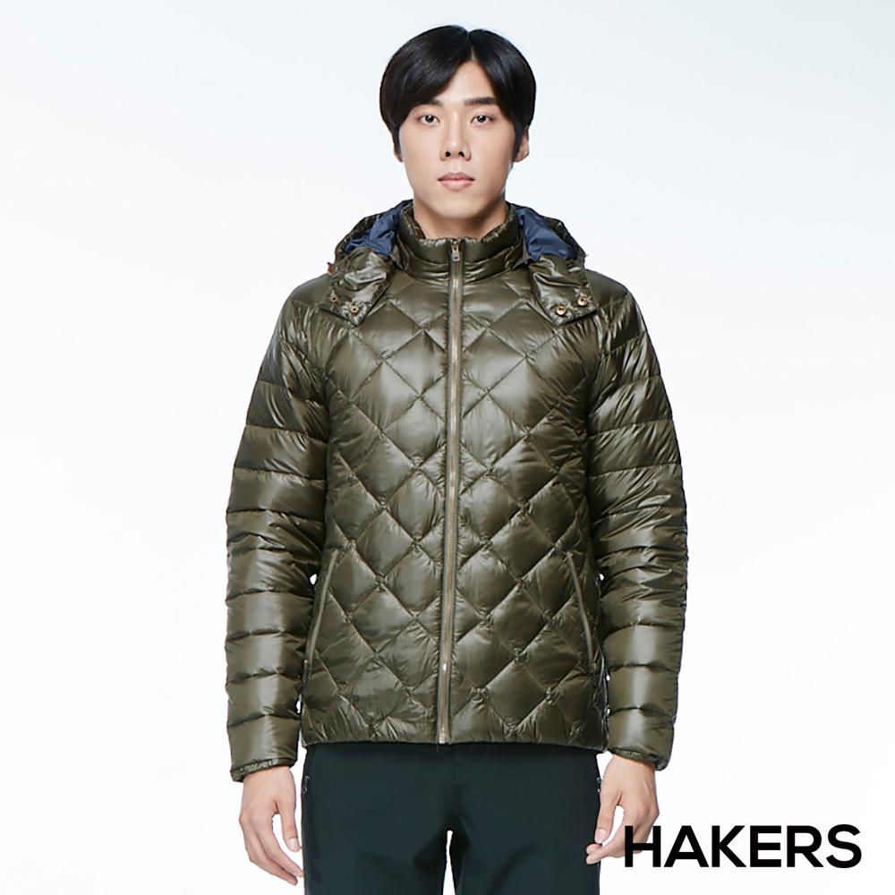 【HAKERS 哈克士】男款 羽絨外套(森橄綠)