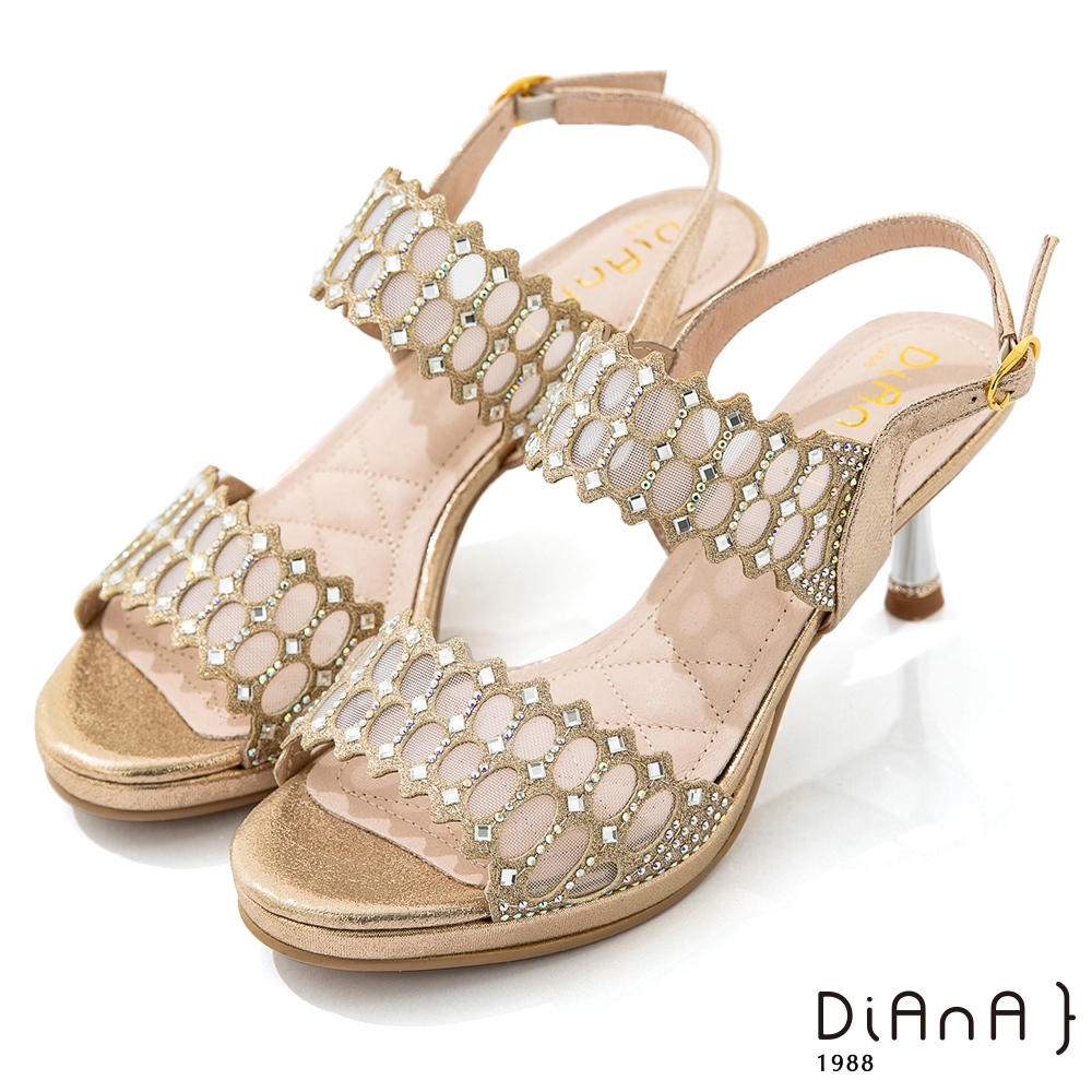 DIANA 7cm星光銀彩托斯細網縷紡紗電鍍高跟涼鞋-浪漫戀曲-金