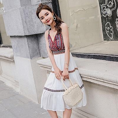 DABI波西米亞長裙沙灘裙海邊度假民族風棉綢白色吊帶無袖洋裝