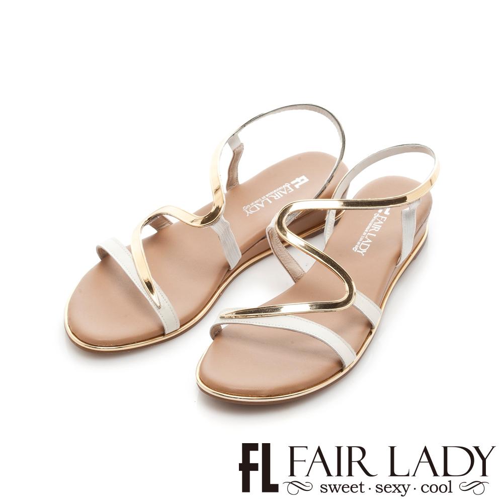 FAIR LADY 金屬拼接S型曲線楔型涼鞋 白