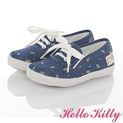 HelloKitty親子鞋童鞋 百搭輕量減壓防滑帆布鞋-藍