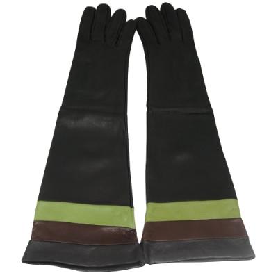 BURBERRY 皮革條紋長版手套-咖啡