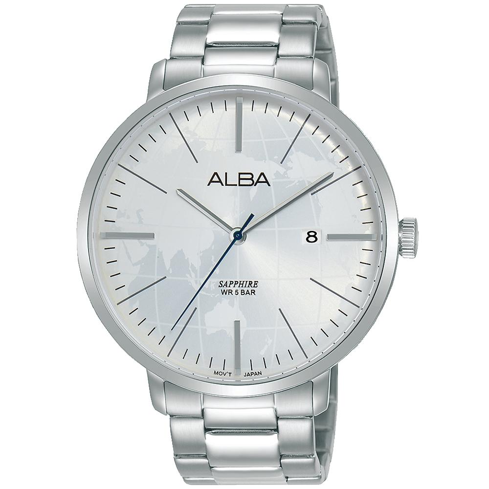 ALBA雅柏 世界地圖潮流手錶(AS9K59X1)-白/43mm