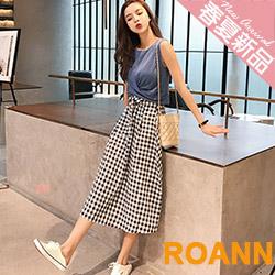 圓領皺褶上衣+格紋寬褲兩件套 (藍色)-ROANN