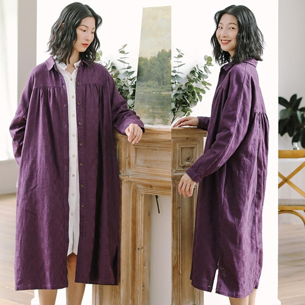 外套-格子棉麻風衣長版寬鬆大碼-設計所在