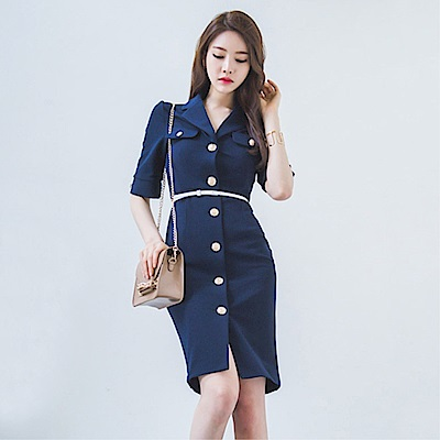 DABI 韓國風氣質修身單排扣翻領高端包臀短袖洋裝