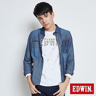 EDWIN-剪接款襯衫牛仔外套-男-酵洗藍