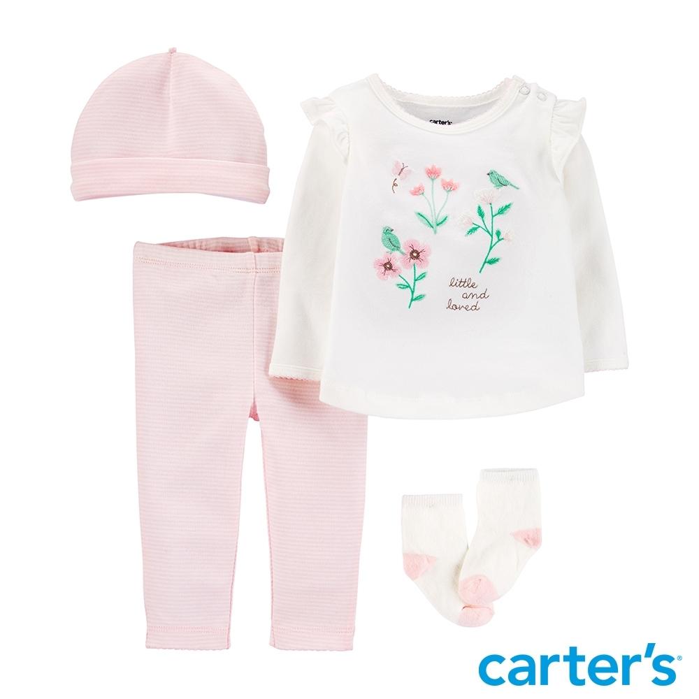 【Carter's】清新花朵4件組套裝(6M-12M) (長袖上衣/配飾)(台灣總代理)