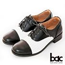 【bac】復古風潮英倫率性壓紋綁帶牛津鞋-黑白