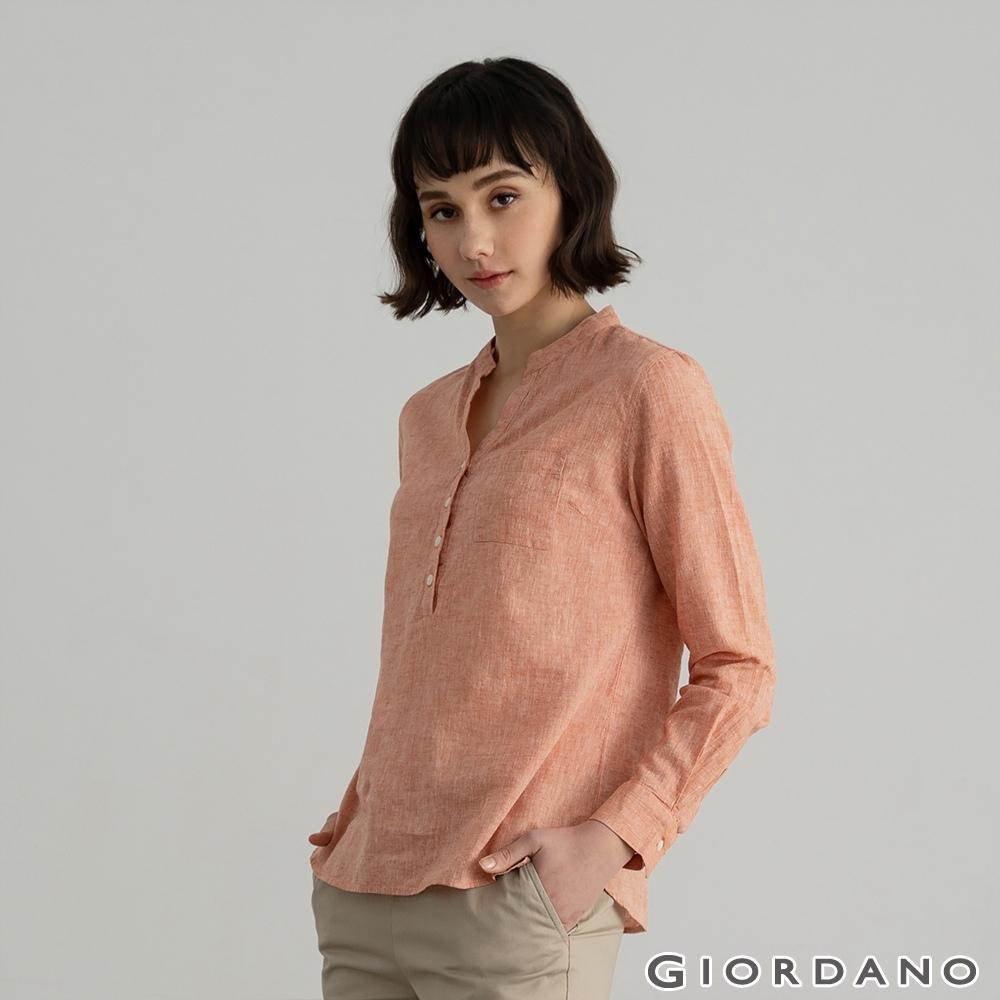 GIORDANO  女裝亨利領棉麻襯衫 - 88 楓葉橘