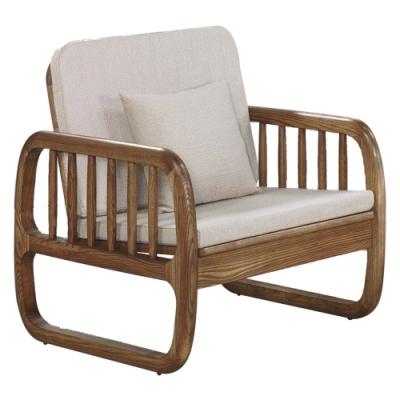 文創集 芬亞典雅曲木亞麻布實木單人座沙發椅-73x81x88cm免組
