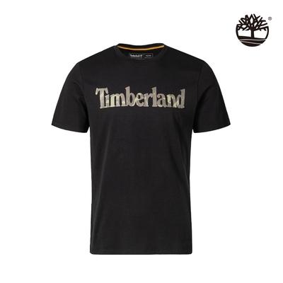 Timberland 男款黑色迷彩LOGO有機棉短袖T恤 A43ZC001